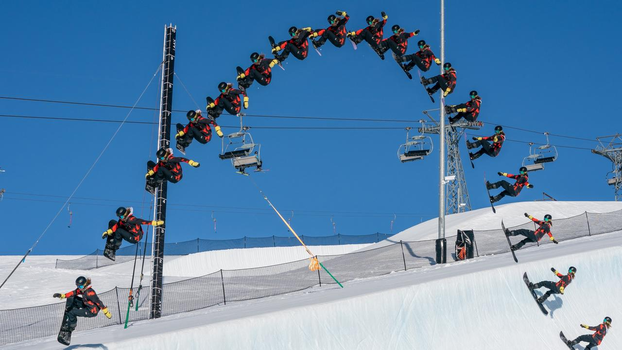 Valentino Guseli's world record half pipe jump in Switzerland, Picture: Mathias Wittwer