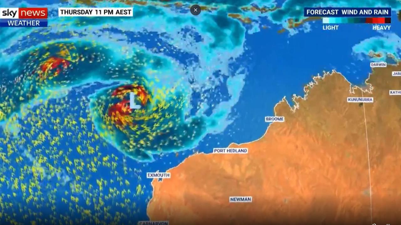 Tropical Cyclone Seroja is heading towards the WA coast. Picture: Sky News Weather.