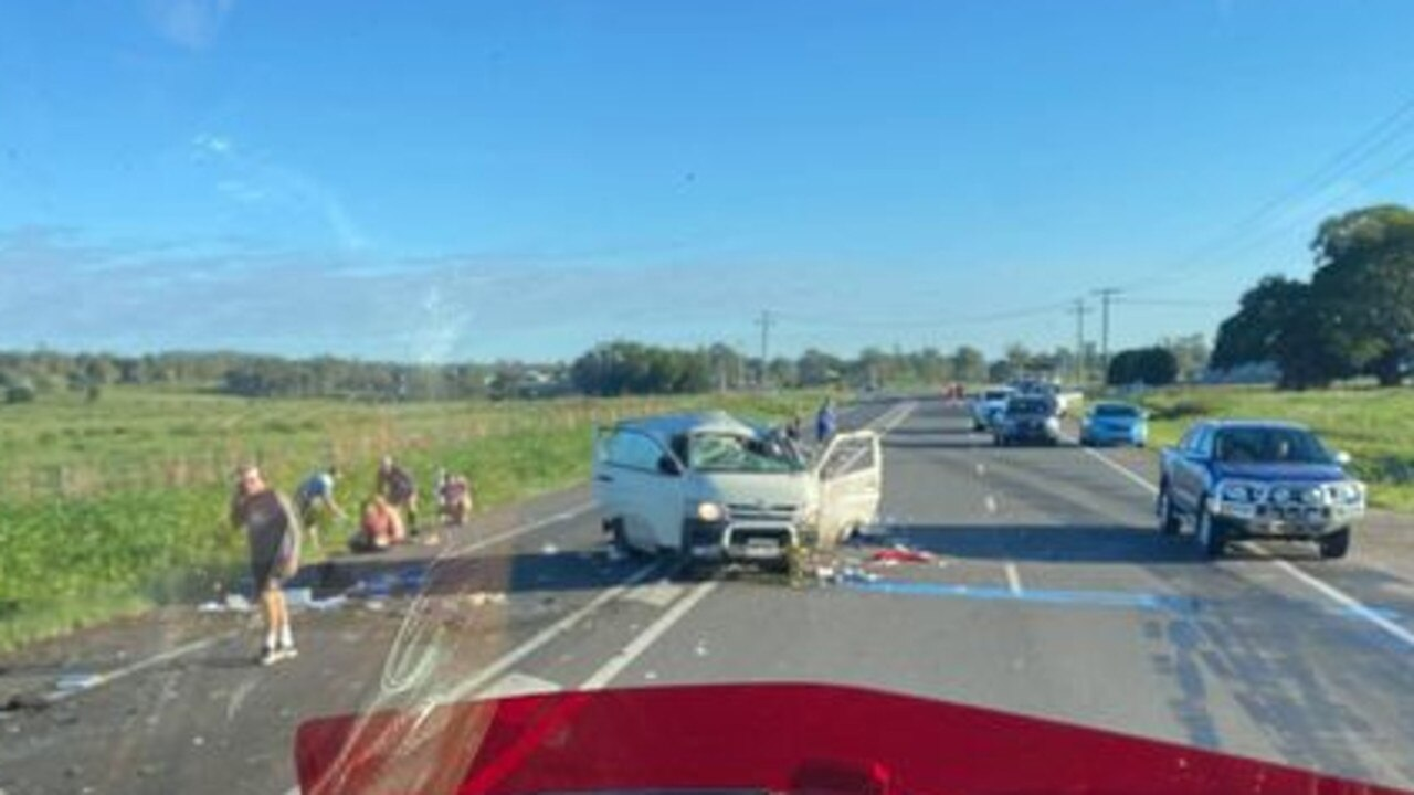 Truckie Darren Smart comes across a single-vehicle crash involving a van that was reportedly loaded with reptiles. Pic: Darren Smart