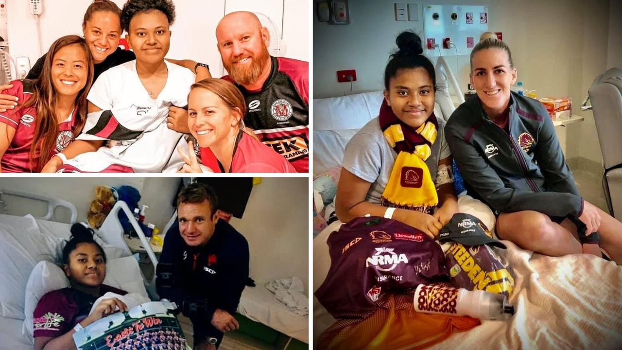 Queensland Red players visit Sharon in hospital; Brisbane Broncos Women Rugby League captain Ali Brigginshaw visited with loads of goodies; and rugby league footballer from the Sydney Rosters NRL team Jake Friend also popped in.