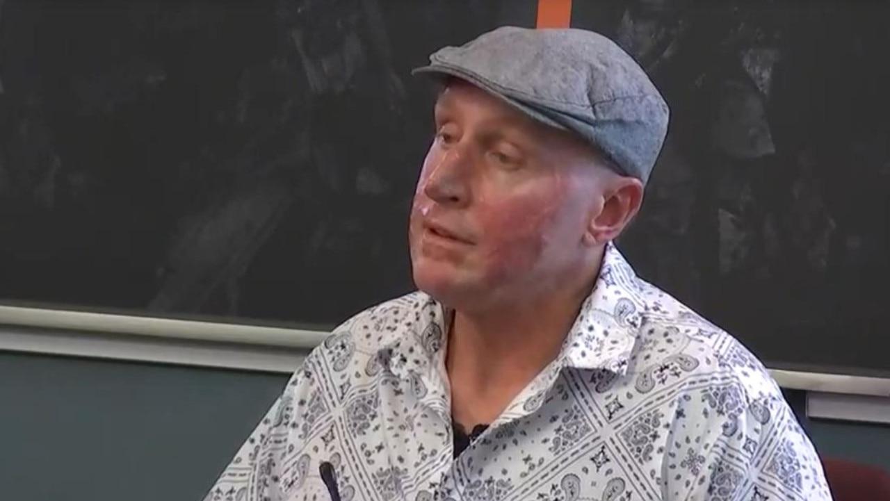 Injured Grosvenor miner Wayne Sellars speaks at the Queensland coal mining board of inquiry.