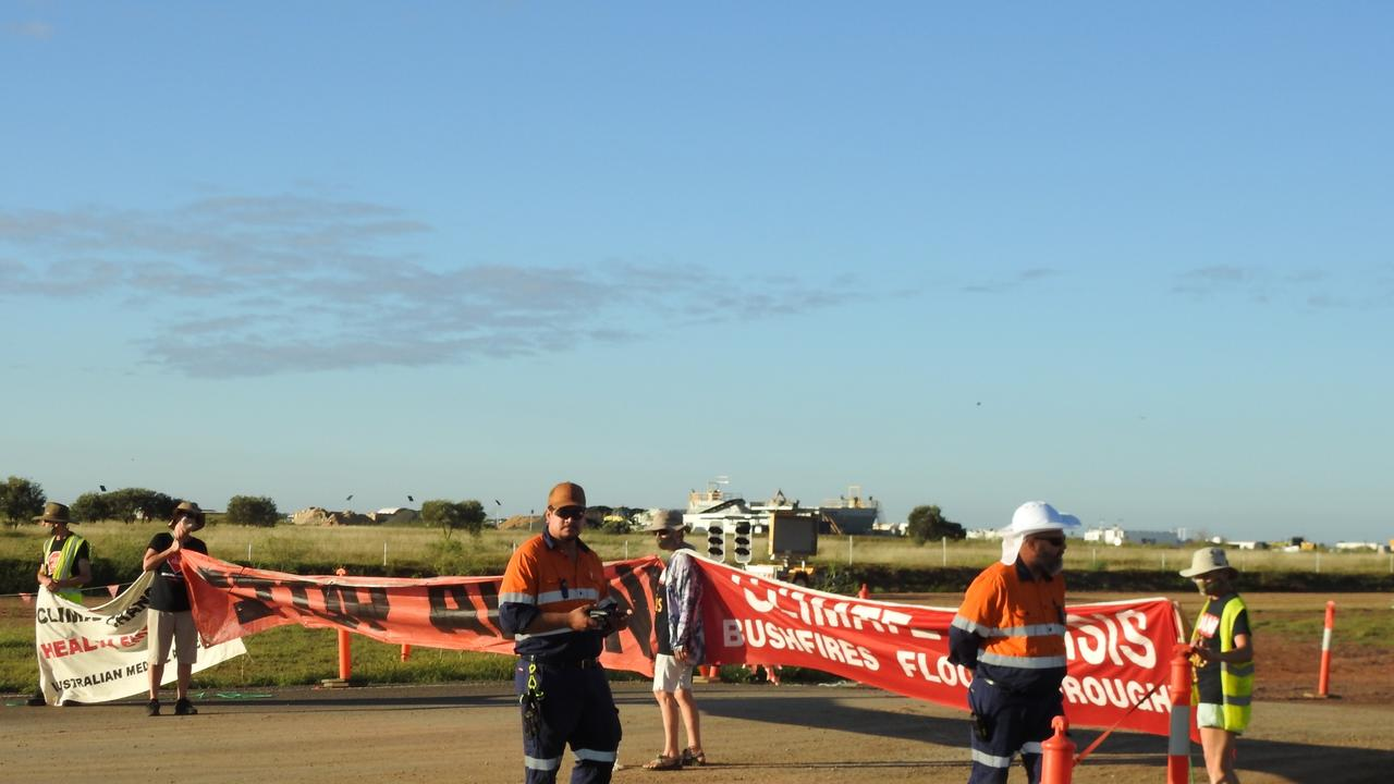 Protesters stop work at the Carmichael rail line project. Picture: Frontline Action on Coal