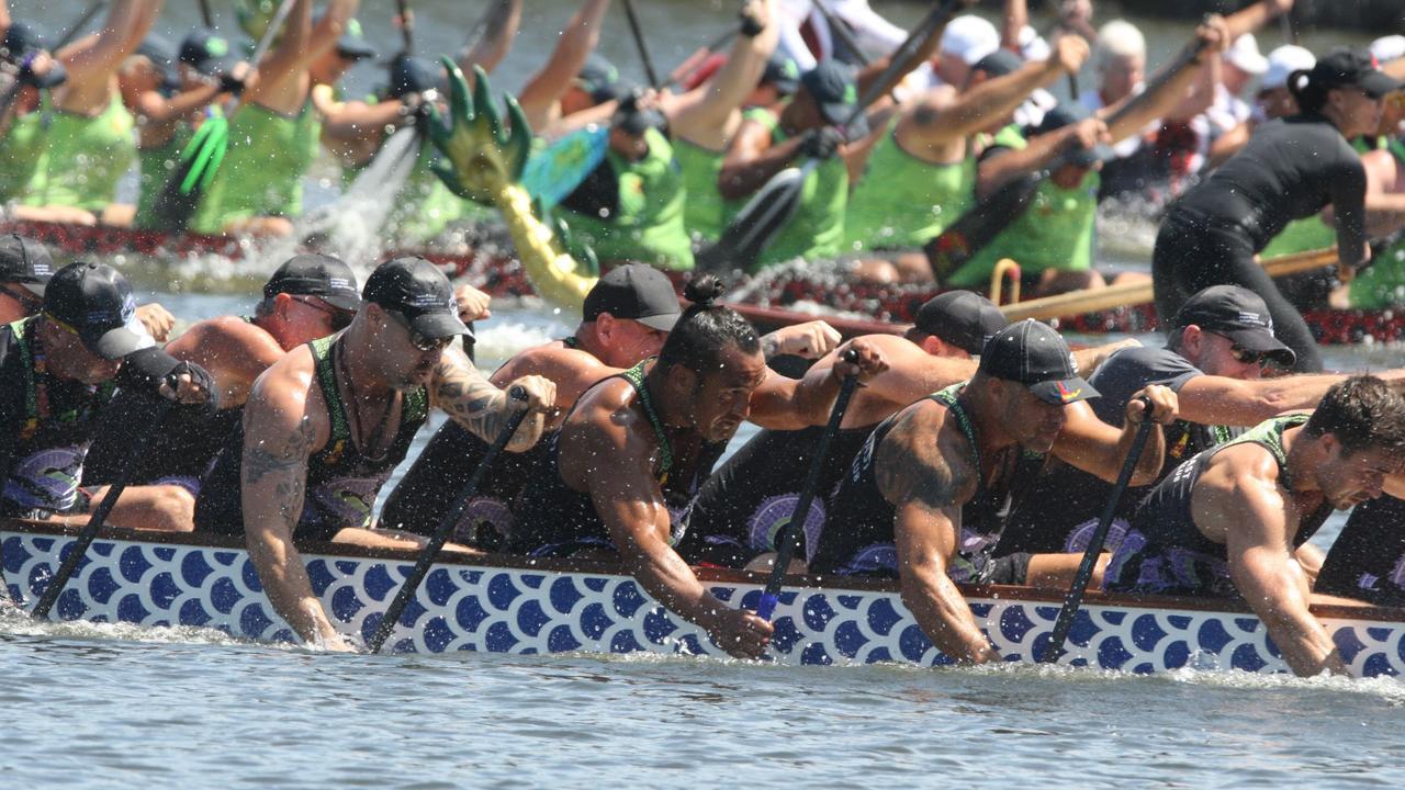 Sunshine Coast Dragon Boat & Outrigger Canoe Club's men's premier team. Picture: John Napper - Action in Focus
