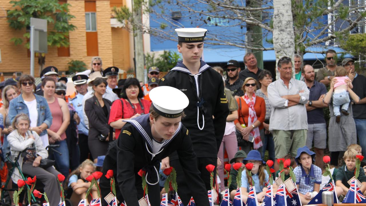 ANZAC DAY WREATHS: Wreaths laid at the Lismore Anzac Day main service by Army, Air Force and Navy force personnel and on behalf of emergency service organisations, community groups, schools and individuals to mark the 2019 Anzac Day main service.