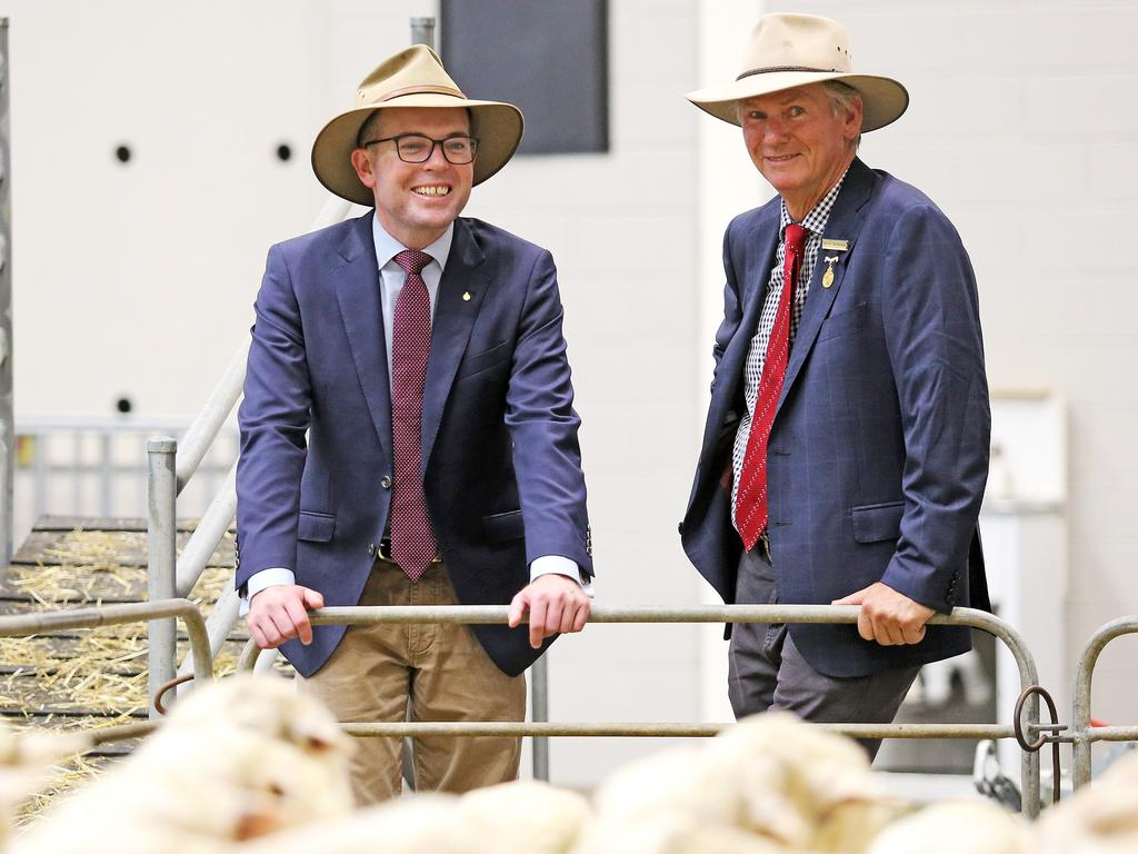 Agriculture Minister Adam Marshall with Young farmer David Davidson, who has welcomed cut price quarantine costs for seasonal agriculture workers. Picture: Tim Hunter