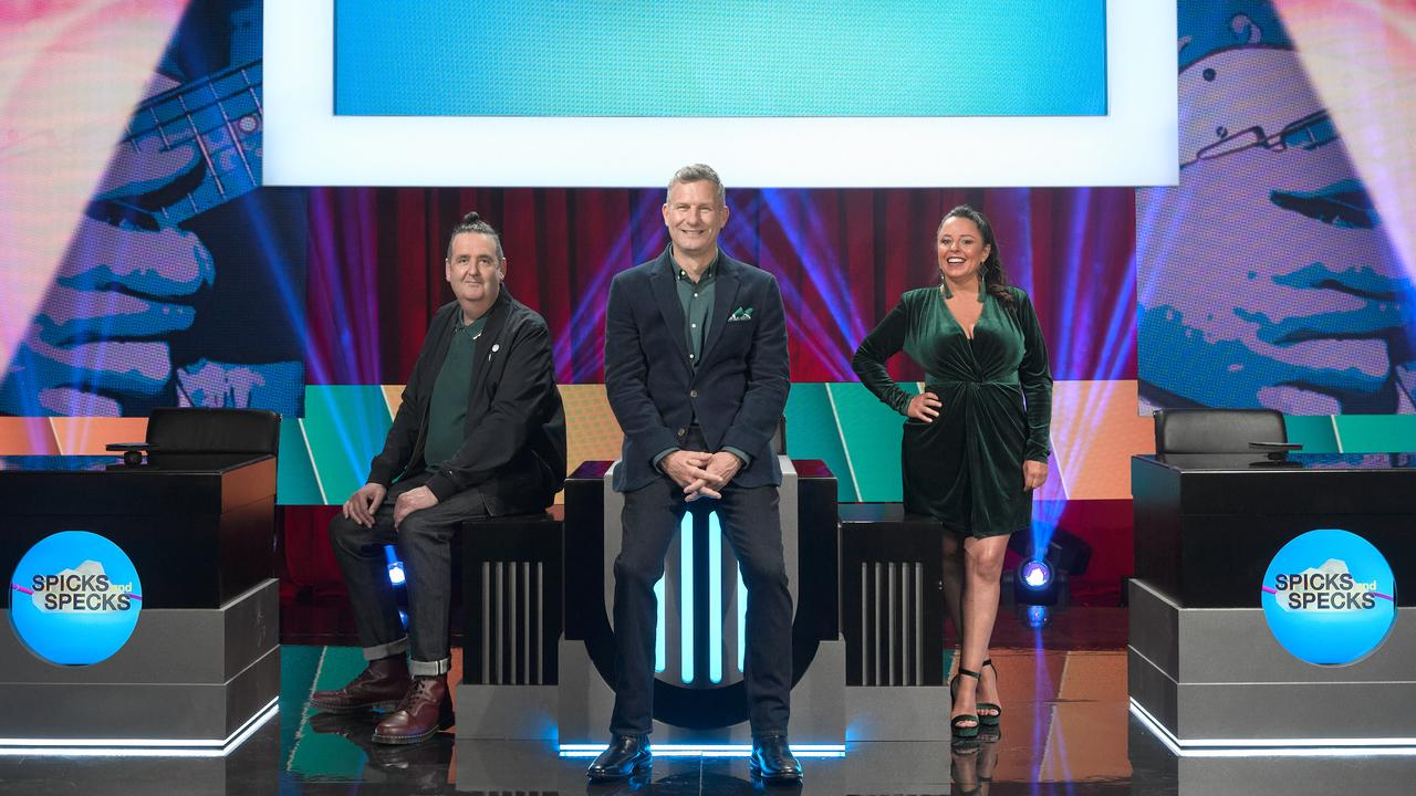 Alan Brough, Adam Hills and Myf Warhurst on the set of the new season of Spicks and Specks.
