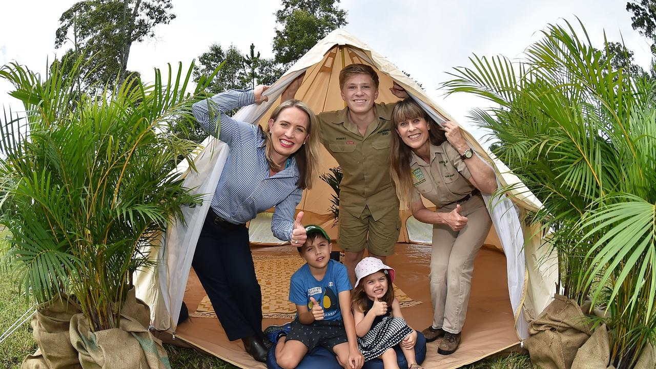 Australia Zoo has partnered with the Queensland Government to expand their tourism offering on the Sunshine Coast. Tourism Industry Development Minister Kate Jones, Tom and Grace Cronin with Robert and Terri Irwin.