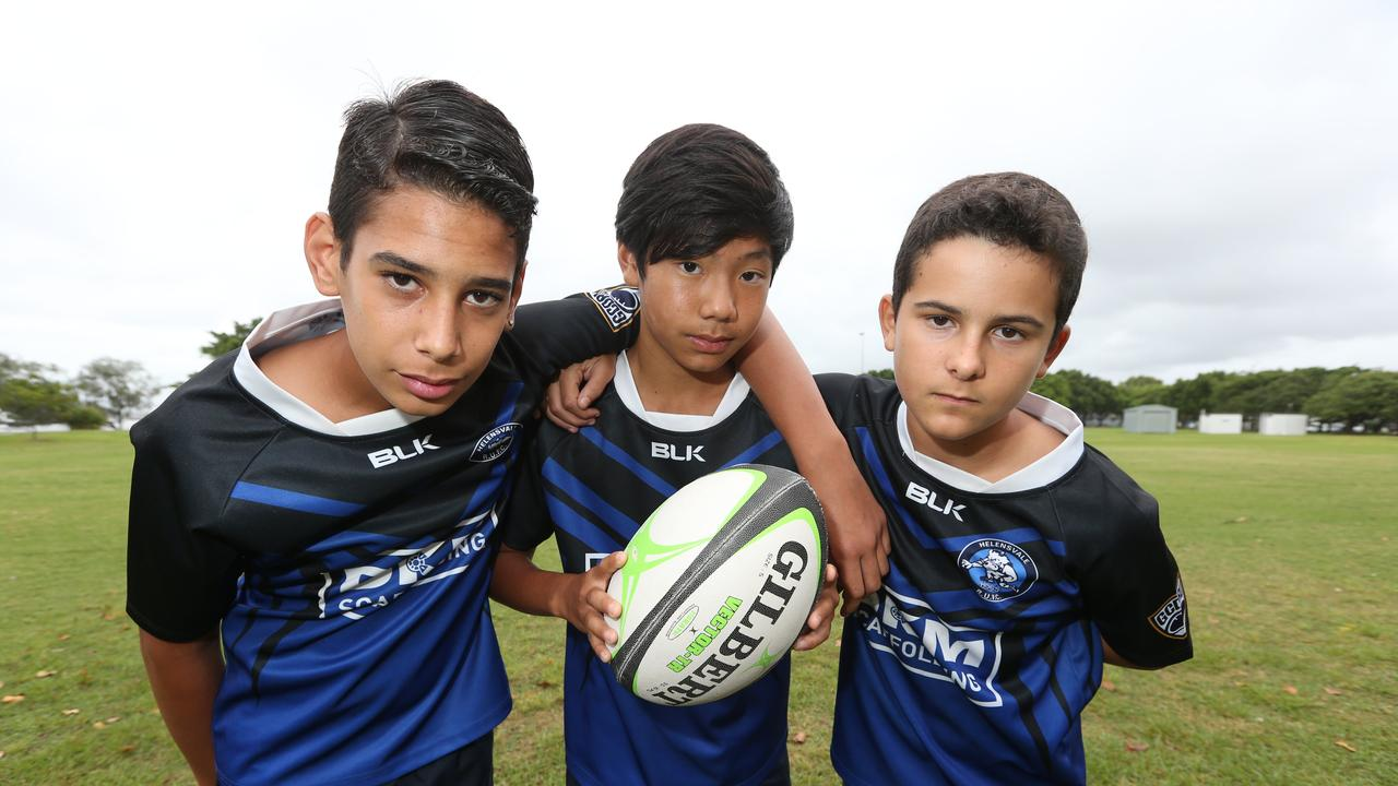 L-R Isiah Bush, Kobi Nouanrasy, Maximus Hill of the Helensvale Hogs under 13's. Pic Mike Batterham
