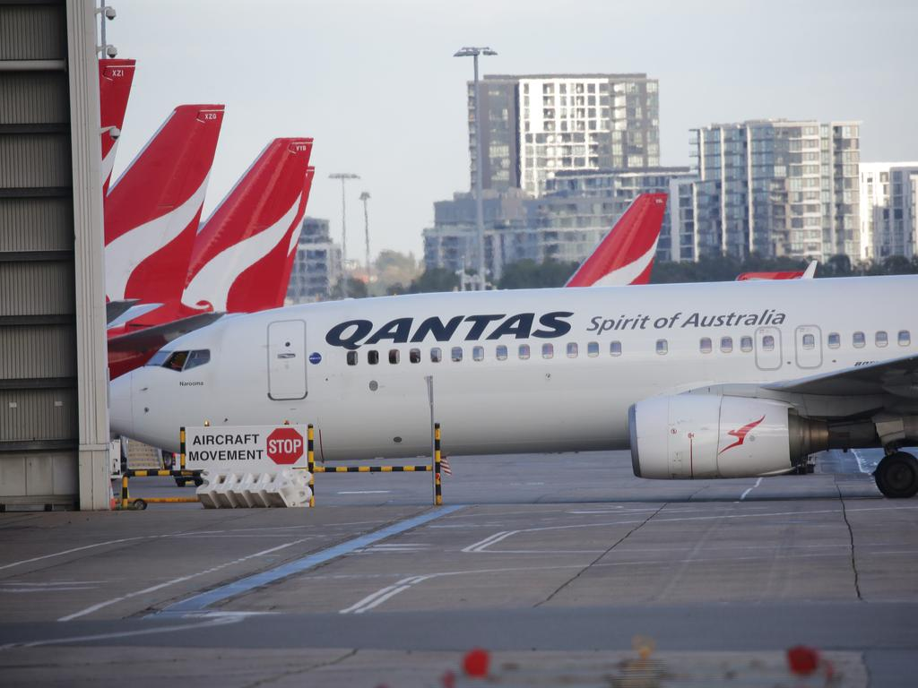 Planes on the tarmac at Sydney Airport. Picture: NCA NewsWire / Christian Gilles