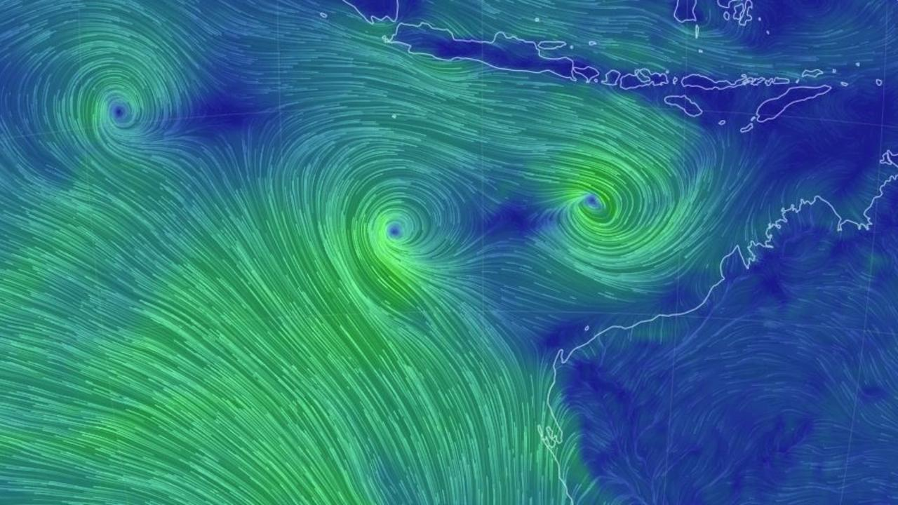 The position of the three systems on Wednesday evening, off the north west coast of WA. Seroja is closest to the coast. Picture: Earthschool