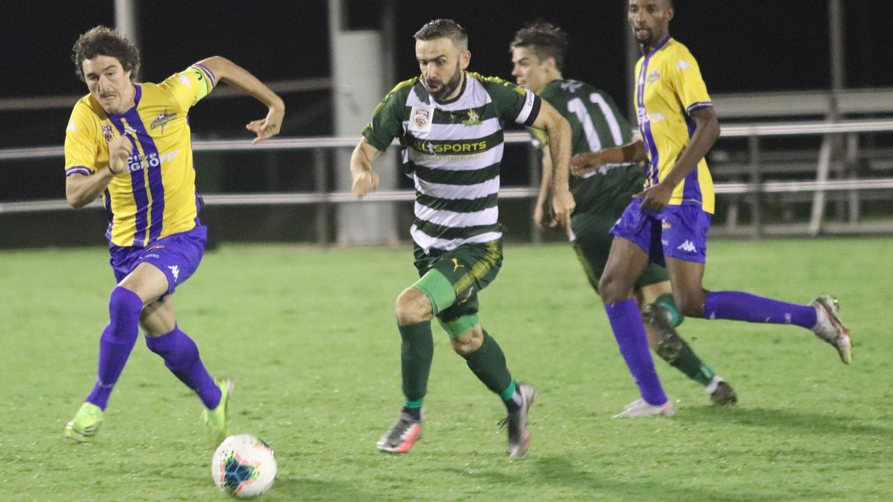 Western Pride footballer Killian Flavin makes a break in his team's recent FFA Cup clash with South West Queensland at the Briggs Road Sporting Complex. Picture: Christina Moran
