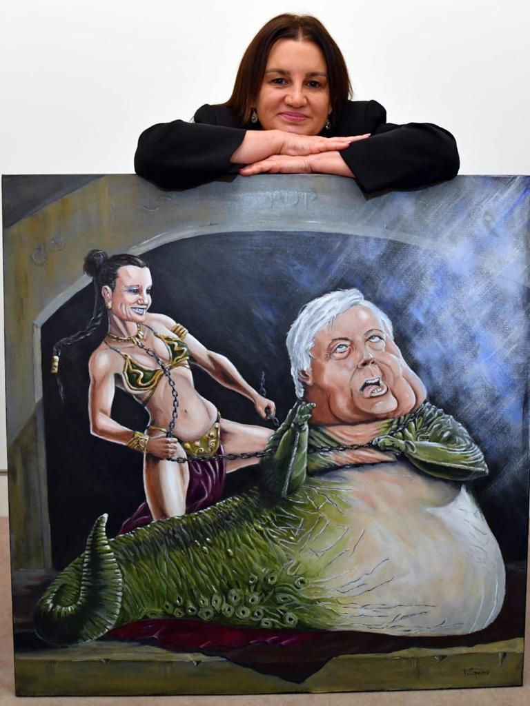 The painting of Jacqui Lambie and Clive Palmer will go to auction.