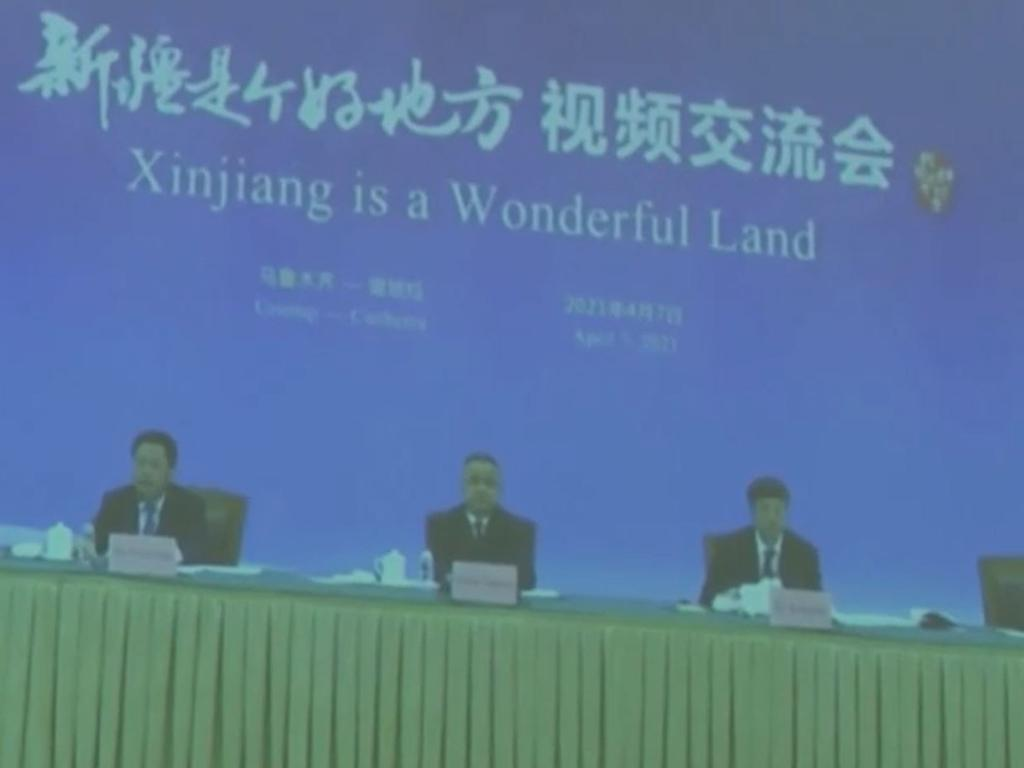 Australian journalists were shown propaganda videos denying human rights abuses in Xinjiang.