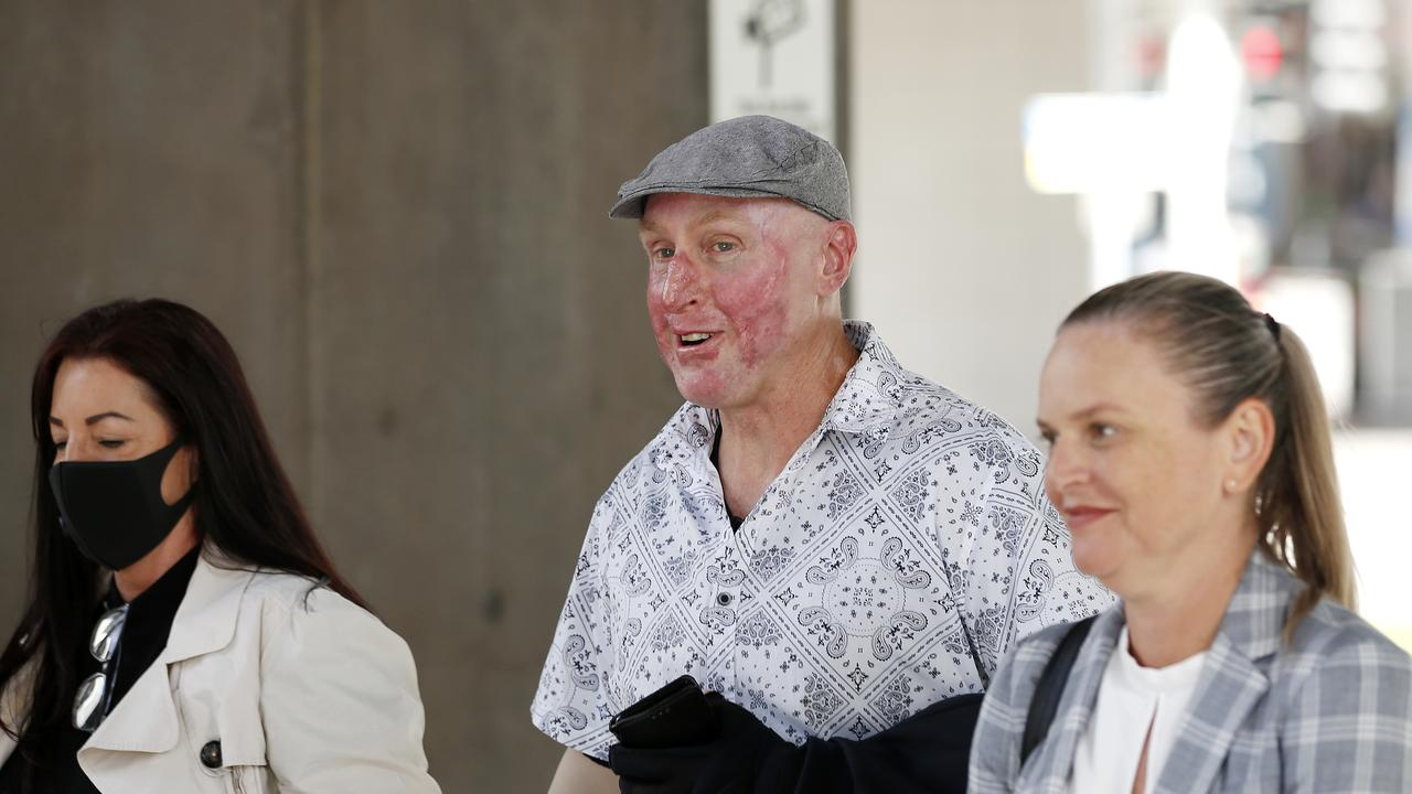 Injured coal miner Wayne Sellars, badly burned in the explosion at the Grosvenor mine at Moranbah on May 6 2020, arrives to give evidence at the coal mining board of inquiry, Brisbane 7th of April 2021. Picture: Josh Woning