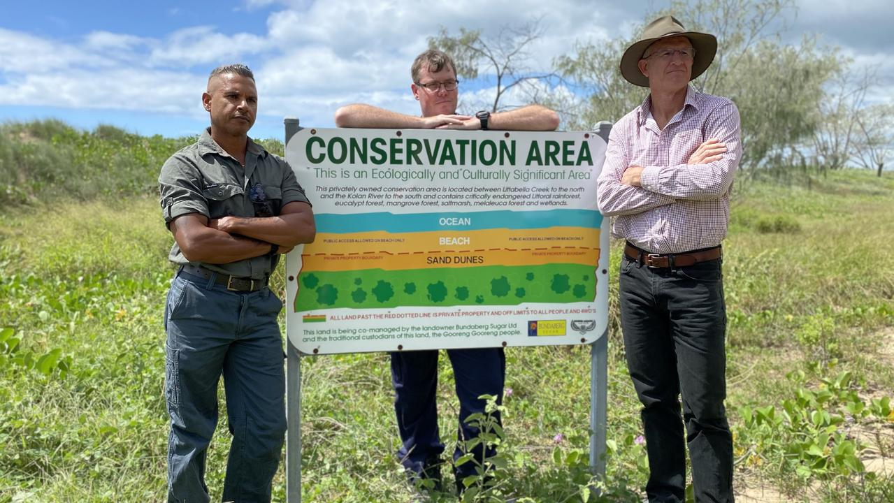 Officer in Charge of South Kolan Police Matt Swan, traditional owner Everett Johnson and Bundaberg Sugar general manager of farms Simon Doyle last week said it was frustrating to see people trespassing, stealing and even cutting trees on the private property.