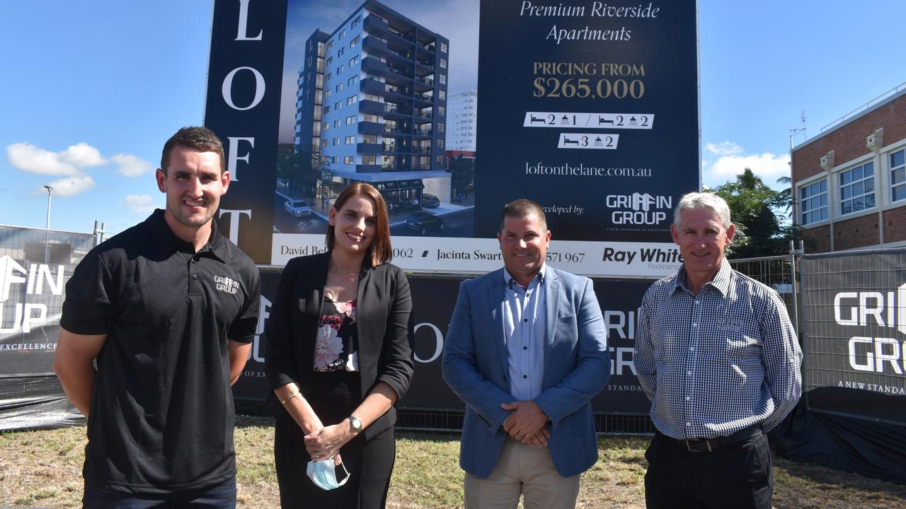 LOFT ON THE LANE: Riley Griffin, Jacinta Swart, David Bell and Brian Griffin. The development is by Griffin Group, partnered with Ray White Rockhampton for sales.