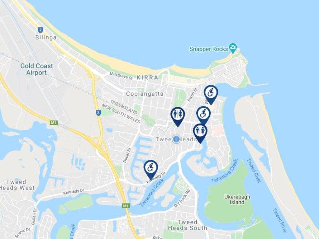 Public toilets in Tweed Heads according to toiletmap.gov.au.