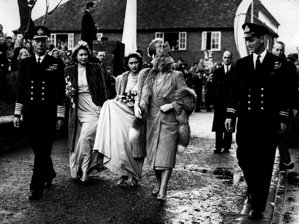 In 1946, Princesses Elizabeth and Margaret were bridesmaids at the wedding of Louis' daughter Patricia and were photographed walking to the service with their parents and Lieutenant Philip Mountbatten, far right. The end of the war meant the sweethearts could finally spend time together, and Philip's MG sports car became a familiar sight at Buckingham Palace. In June 1946, he wrote to Elizabeth,