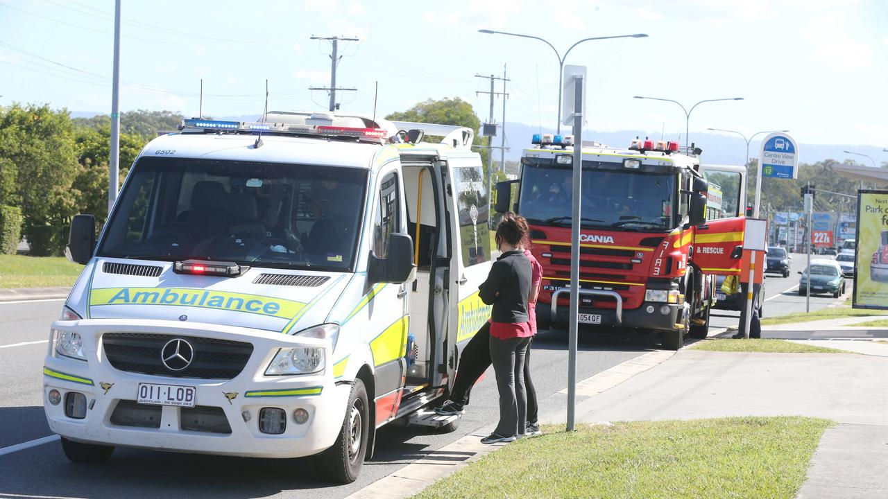 Emergency services are on the scene of a motorcycle crash near Gladstone. Picture: Richard Gosling