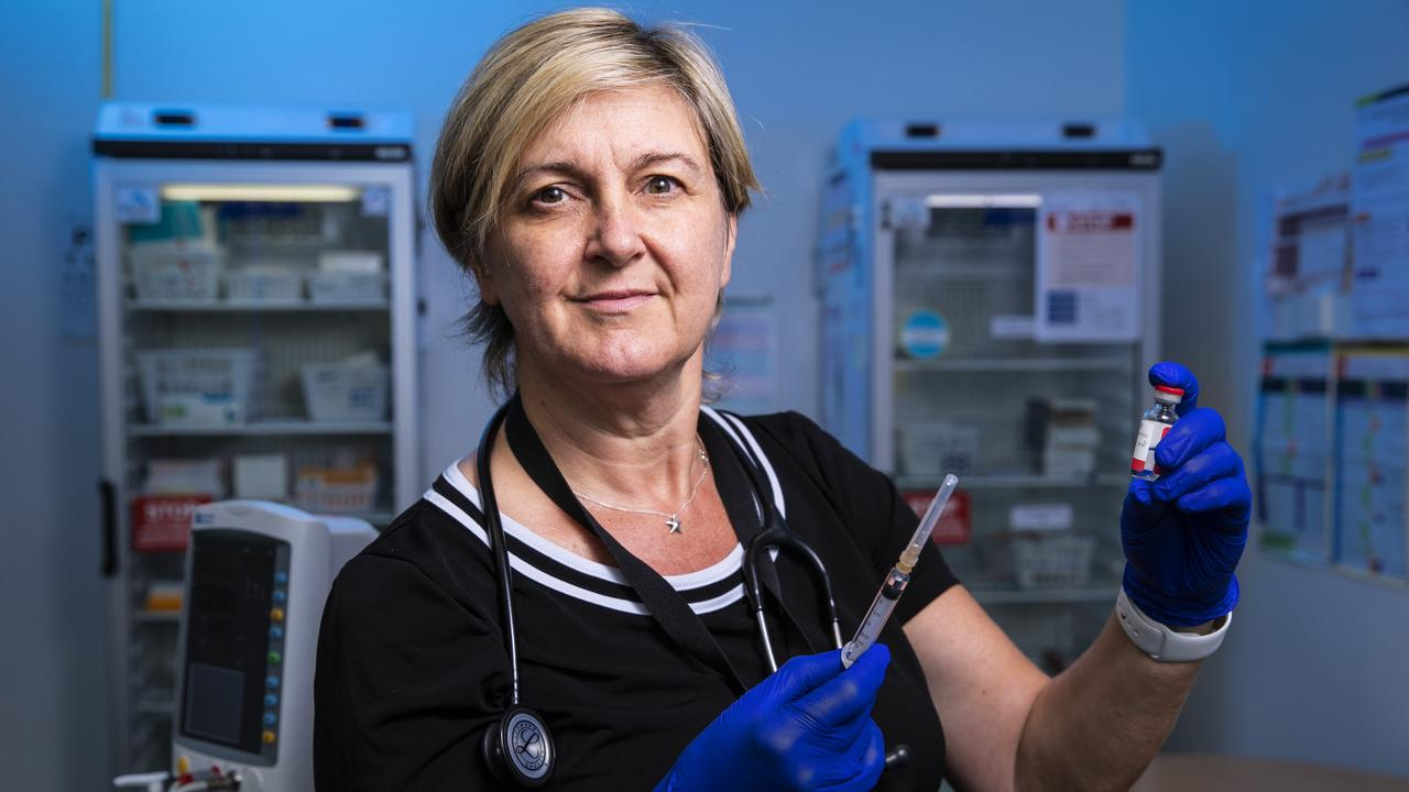 Dr Alison O'Connor, medical co-ordinator and GP at Ochre Health Sippy Downs was in line to receive the Pfizer vaccine as a frontline health worker. Picture: Lachie Millard