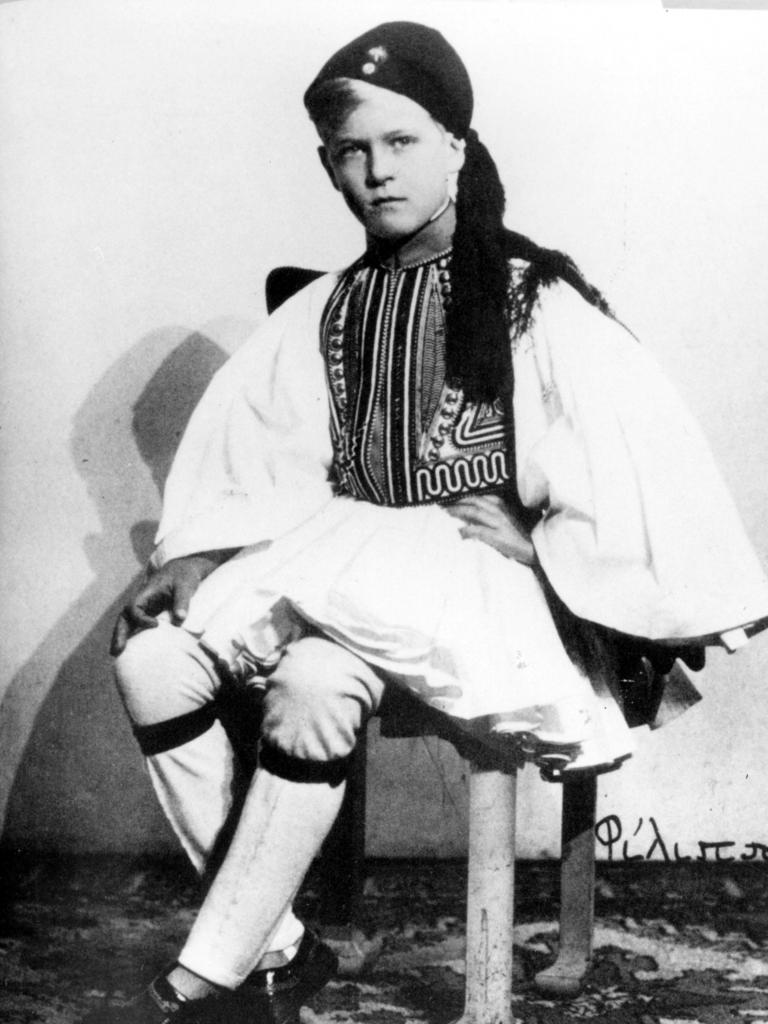A young Prince Philip poses in traditional Greek costume in an undated photo. After fleeing Greece, his family initially tried to settle in the UK, but with no money were forced to move again to Paris, where they were able to take up residence in a small cottage on an estate belonging to Philip's uncle and aunt, Prince George of Greece and his wealthy French wife Marie Bonaparte. Picture: UPI
