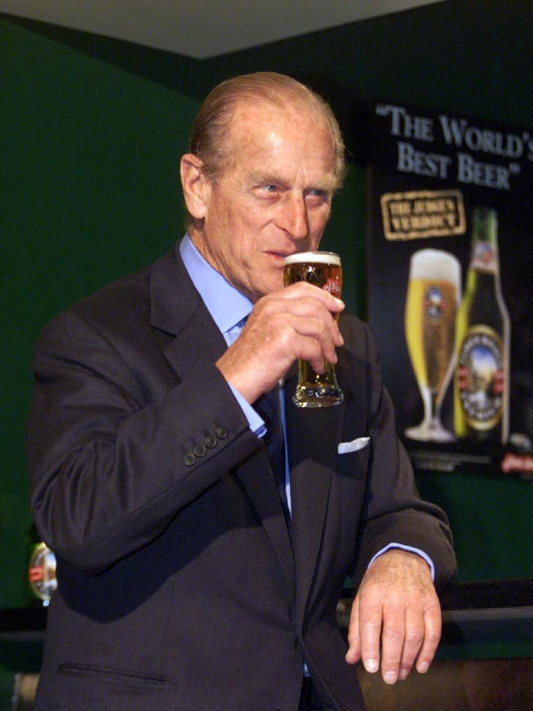"Prince Philip enjoys a glass of beer at J Boag and Son in Launceston in 2000. Offered fine wine at a dinner with Italian PM Giuliano Amato in Rome the same year, Philip is famously said to have roared: ""Get me a beer. I don't care what kind it is, just get me a beer!"" The incident regular appears on lists of Philip's gaffes, but Philip doesn't seem to mind, joking during an address to the General"