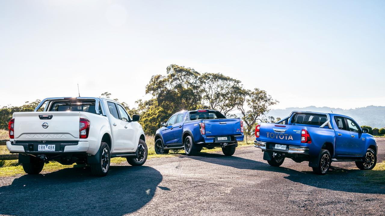 The new Isuzu D-Max and Nissan Navara take on Australia's most popular dual-cab ute. Photo by Thomas Wielecki.