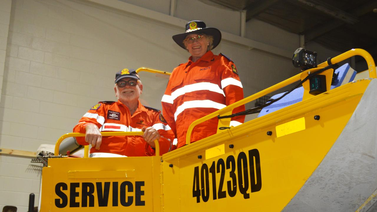Warwick SES volunteers Janelle and Steve Martin in the new Alice St headquarters.