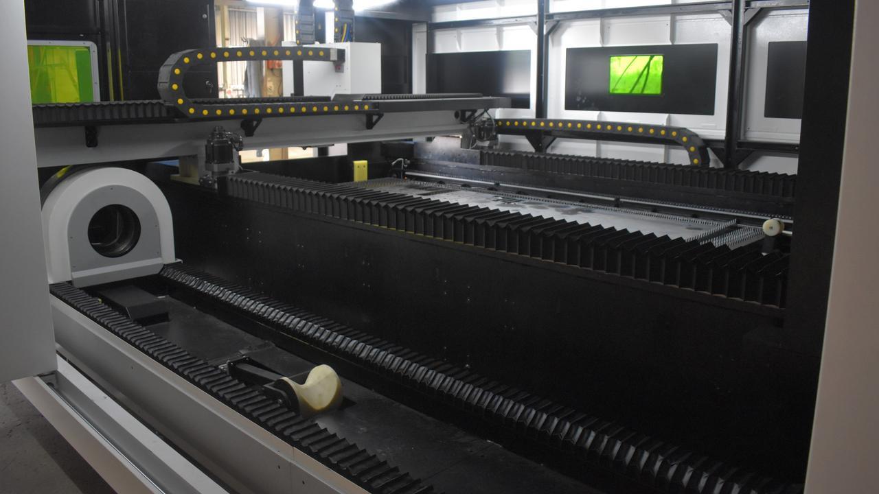 Inside the fibre laser cutting machine.