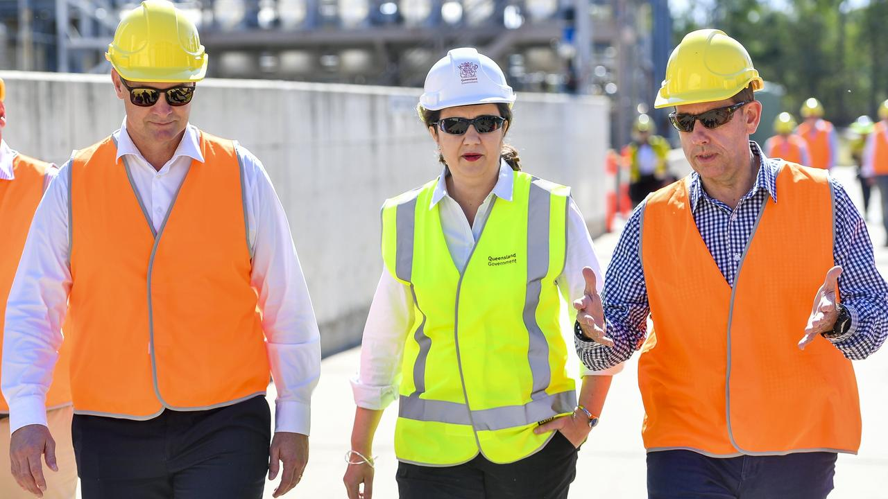 Queensland Premier Annastacia Palaszczuk met with state member for Gladstone Glenn Butcher and minister for state development, manufacturing, infrastructure and planning Cameron Dick at Northern Oil Refinery to announce the Queensland Government's new hydrogen plan.