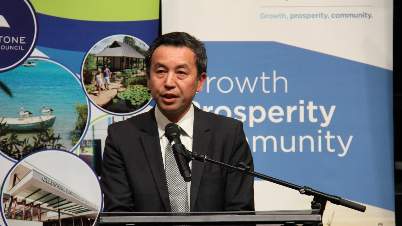 Sumitomo Corporation Australia Managing Director Mr Yoshikazu 'Cash' Ishikawa addresses the launch of the Gladstone Hydrogen Ecosystem project. Picture: Rodney Stevens