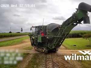 Cane train derails after crashing into harvester