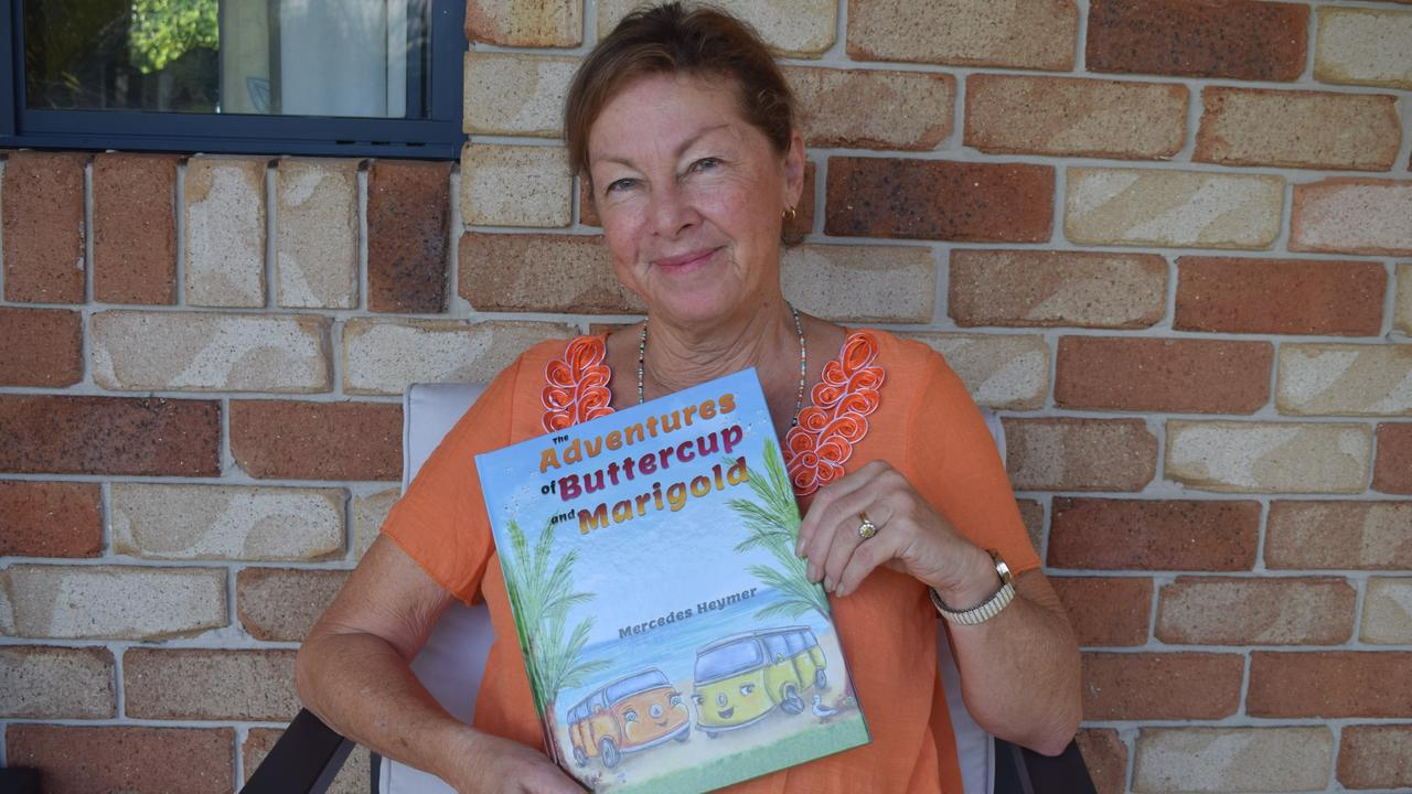 Mercedes Heymer with her first children's novel The Adventures of Buttercup and Marigold
