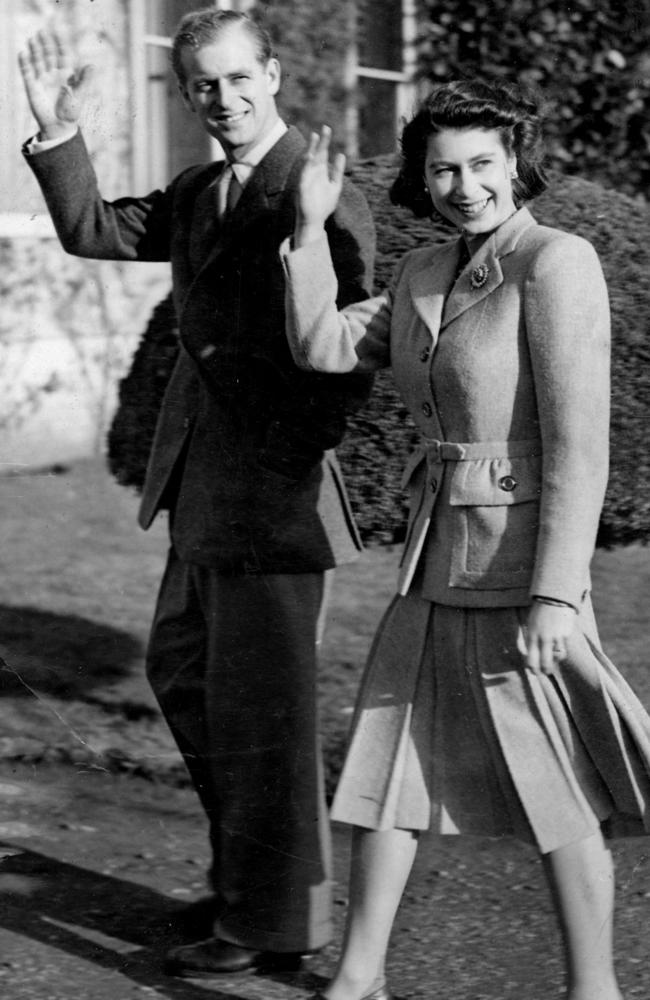 Princess Elizabeth and the Duke of Edinburgh on their honeymoon at Romsey in 1947. Picture: AP