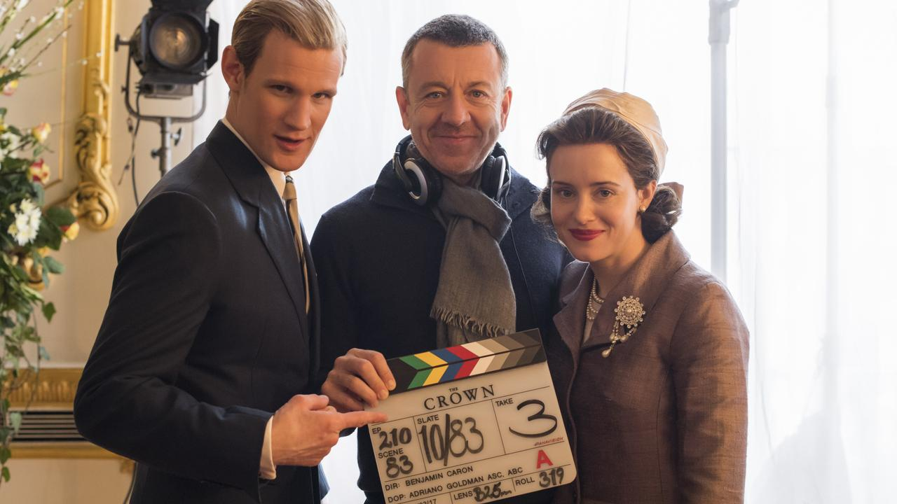 The Crown - Matt Smith, Peter Morgan, Claire Foy - Writer/Creator Peter Morgan with Matt Smith (Prince Philip) and Claire Foy (Queen Elizabeth II)