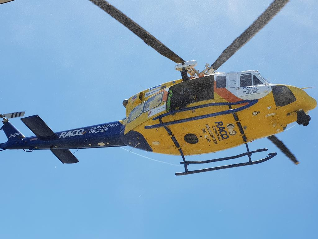 The rescue helicopter is en route following a single vehicle crash in Booyal. File Photo.