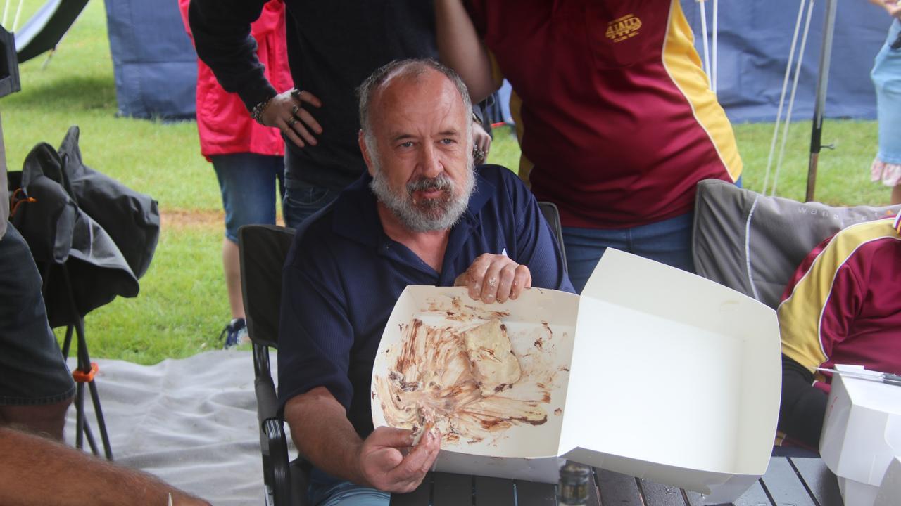 BUNDABERG 4WD CLUB: Jan Van Wyk with what was left of the 1kg donut.