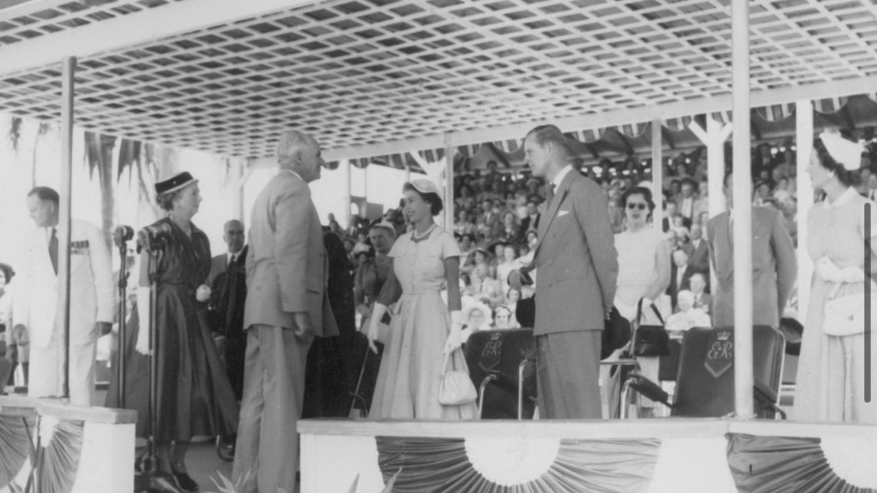 BUNDABERG ROYAL VISIT: Doug Rattay being presented to Queen Elizabeth during their visit to Bundaberg in 1954.