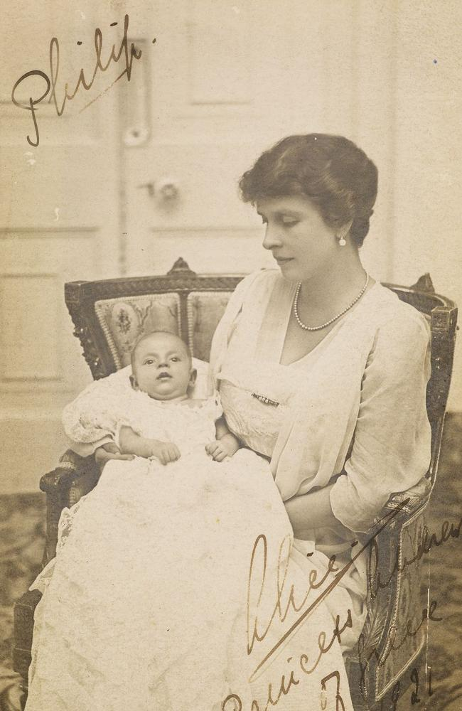 Prince Philip, Duke of Edinburgh, was born at Mon Repos on the island of Corfu in 1921. This is the first ever taken of Prince Philip, in his mother's arms, Princess Alice of Battenberg. Picture: Royal Collection Trust