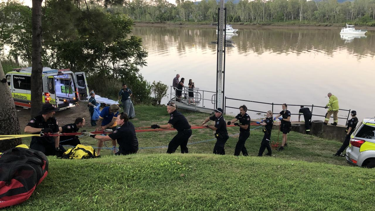 Emergency services work together to rescue the woman.