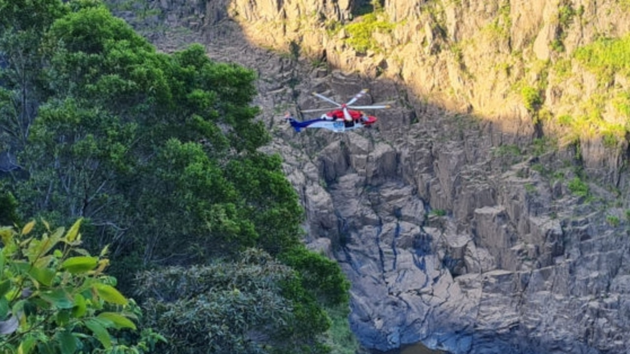 The Queensland Government Air Rescue 510 helicopter successfully winched a father and two teenage boys from the steep terrain of Barron Gorge. Picture: Queensland Police Service