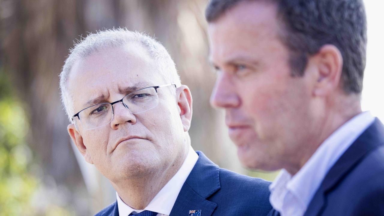 Prime Minister Scott Morrison and Trade Minister Dan Tehan. Picture: Nicole Cleary