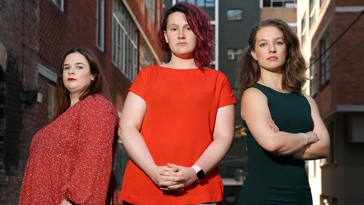 Rachael Burgin (l to r), Saxon Mullins and Katrina Marson from Rape and Sexual Assault Advocacy and Research. Picture: Tim Hunter
