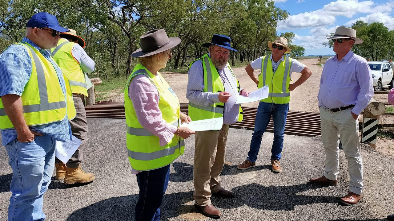 Mayor Andy Ireland, Deputy Mayor Adam Belot and Councillor Rhodes Watson (left) pictured with Michelle Landry inspecting the roadworks at Stanage Bay Road yesterday. PIC: Contributed