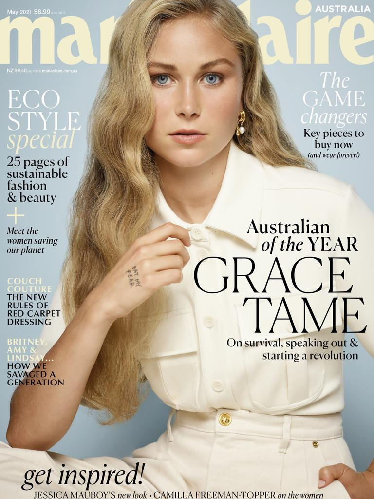 Grace Tame on the cover of Marie Claire magazine. Picture: Marie Claire Australia