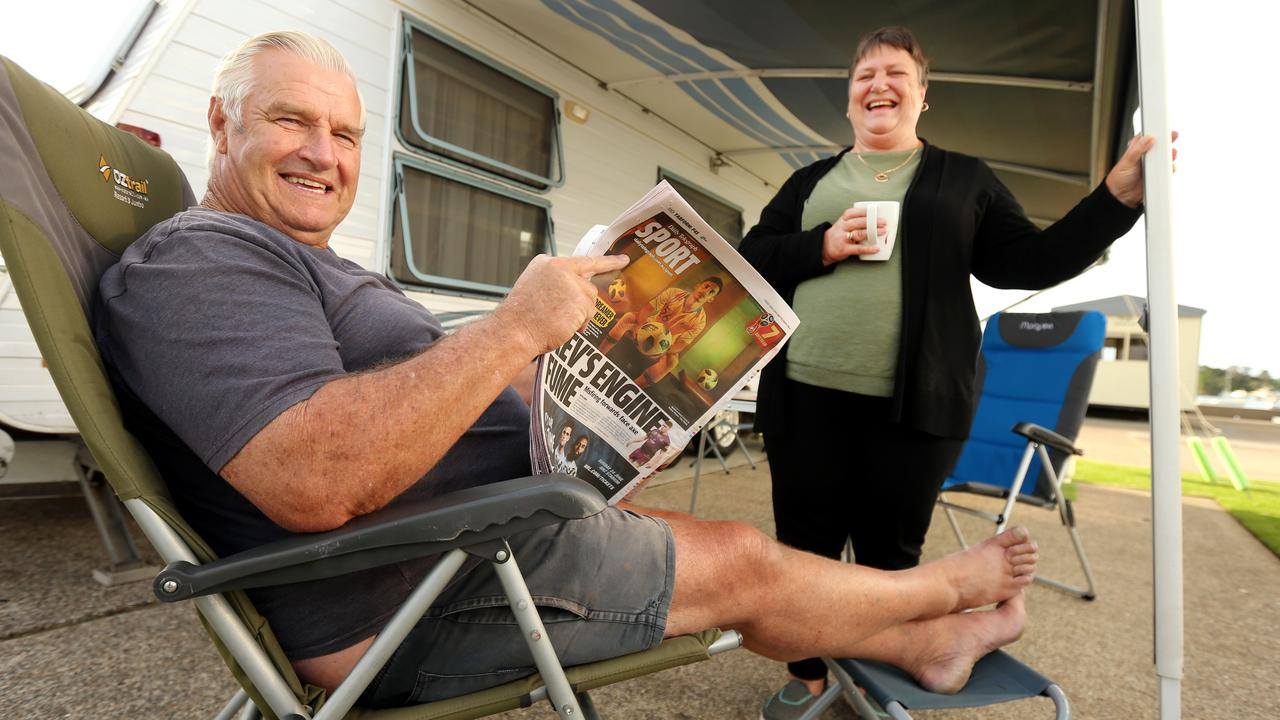 George and Beryl Hicks, grey nomads from Leeton with their caravan in Port Macquarie. They are part of a target market a Bloomsbury fruit farmer hopes to attract. Picture: Nathan Edwards