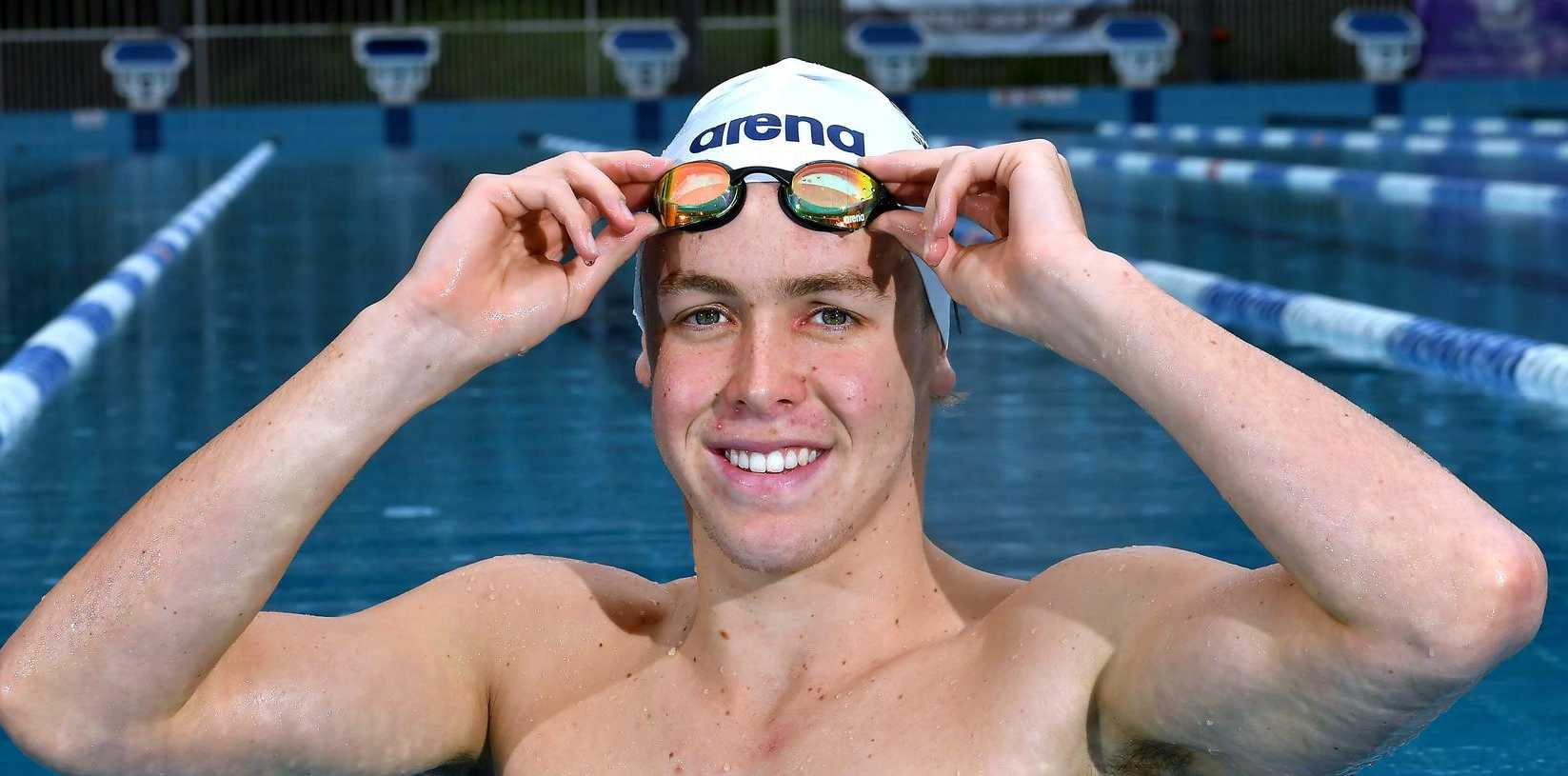 Olympic Swimming Prospect Samuel Short in the pool at Centenary Swimming Pool. Sunday April 4, 2021. Picture, John Gass