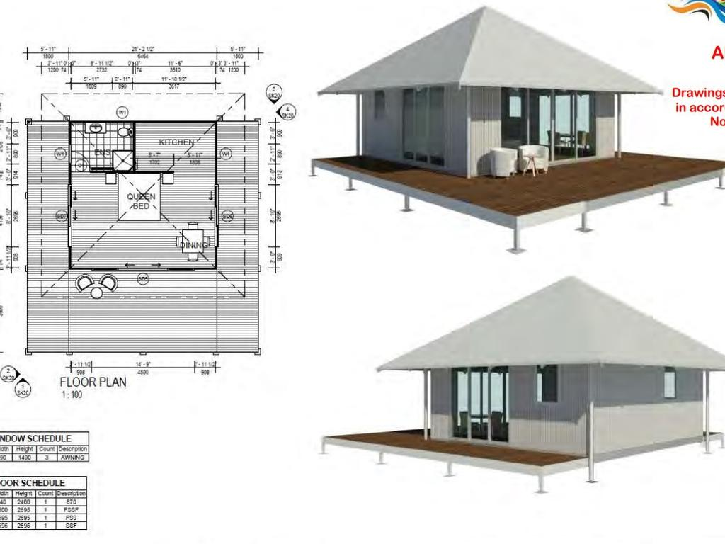 The eco cabins which will be built at the Serenity Eco Retreat near Airlie Beach. Picture: Supplied