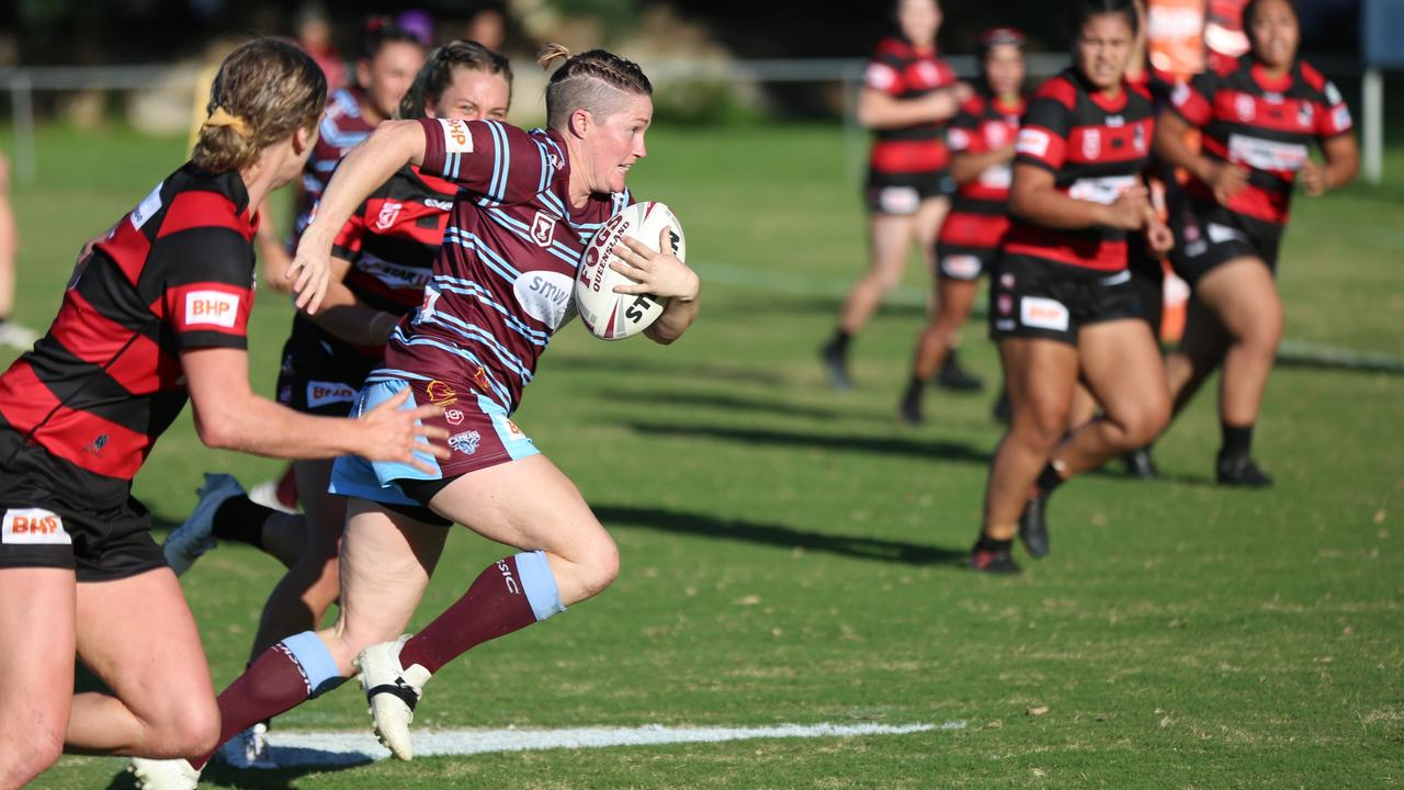 Skipper Chelsea Baker in full flight for the CQ Capras in the BHP Premiership season opener in Brisbane on Saturday. Photo: Colleen Edwards/QRL