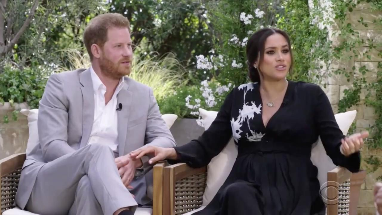 Harry and Meghan seen during interview with Oprah Winfrey. Picture: CBS